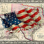 Vintage Map Of Texas 2 Poster