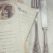 Vintage Menu Cards Knife And Fork Poster