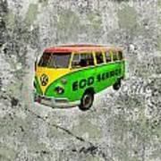 Vintage Minibus Poster