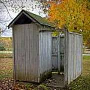 Vintage Outhouse Alongside A Historical Country School In Southwest Michigan Poster