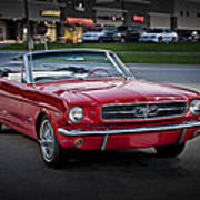 Vintage Red 1966 Ford Mustang V8 Convertible  E48 Poster