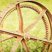 Vintage Rusty Wheel Poster by Lesley Rigg