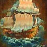 Vintage Sail On Wood Poster