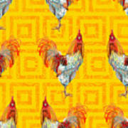 Vintage Seamless Pattern With Farm Poster