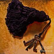 Vintage Skeleton Keys Tassled Gold Poster