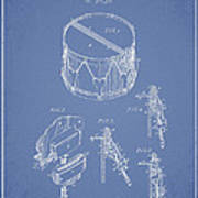 Vintage Snare Drum Patent Drawing From 1889 - Light Blue Poster
