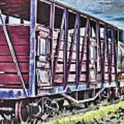 Vintage Steam Locomotive Carriages Poster
