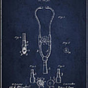 Vintage Stethoscope Patent Drawing From 1882 - Navy Blue Poster