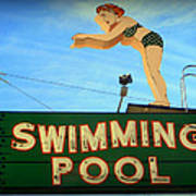Vintage Swimming Lady Hotel Sign Poster