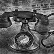Vintage Telephone In Black And White  Poster