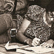 Vintage Young Woman Writing  Poster