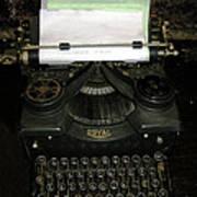 Vintage Typewriter Mechanical Poster