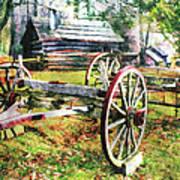 Vintage Wagon On Blue Ridge Parkway II Poster by Dan Carmichael