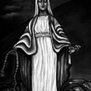 Virgen Mary In Black And White Poster