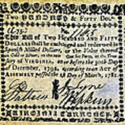 Virginia Banknote, 1781 Poster