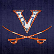 Virginia Cavaliers College Sports Team Retro Vintage Recycled License Plate Art Poster