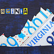Virginia License Plate Map Art Poster
