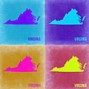 Virginia Pop Art Map 2 Poster