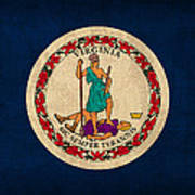 Virginia State Flag Art On Worn Canvas Poster