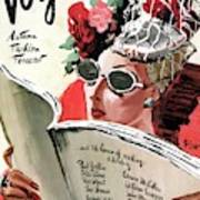 Vogue Cover Illustration Of A Woman Reading Poster