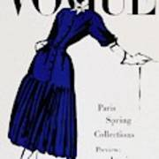 Vogue Cover Illustration Of A Woman Wearing Blue Poster