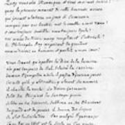 Voltaire Letter, 1740 Poster