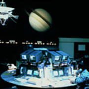 Voyager 1 Mission Control During Saturn Encounter Poster