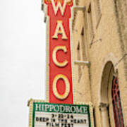 Waco Movie Theater With Sign, Waco Poster