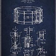 Waechtler Snare Drum Patent Drawing From 1910 - Navy Blue Poster