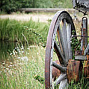 Wagon Wheel In Grass Poster