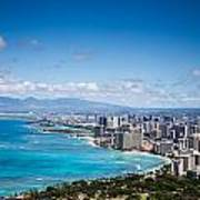 Waikiki Beach From Diamond Head Poster