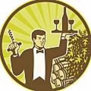 Waiter Serving Wine Grapes Barrel Retro Poster by Aloysius Patrimonio