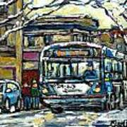 Waiting For The 80 Bus Montreal Memories Winter City Scene Painting January Art Carole Spandau Art Poster