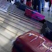 Waiting People Claim Baggage Airport Conveyor Belt Poster