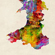 Wales Watercolor Map Poster