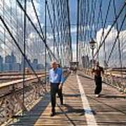 Walkers And Joggers On The Brooklyn Bridge Poster by Amy Cicconi