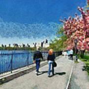 Walking Around Reservoir In Central Park Poster