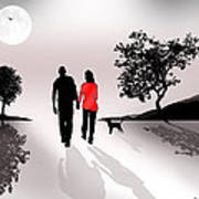 Walking By Moonlight Poster