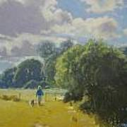 walking down by Borth River Poster