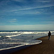 Walking On Seaside Beach Poster