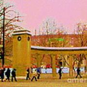 Walking Sherbrooke By Roddick Gates Mcgill Campus View Of Mont Royal Montreal Scenes Carole Spandau  Poster
