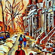 Walking The Dog By Balconville Winter Street Scenes Art Of Montreal City Paintings Carole Spandau Poster
