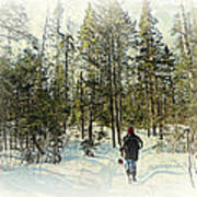 Walking The Dog On A Snowy Trail Poster by Dianne  Lacourciere
