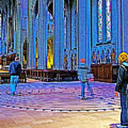 Walking The Indoor Labyrinth In Grace Cathedral In San Francisco-california Poster