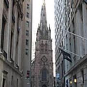 Wall Street Leading To Trinity Church Poster