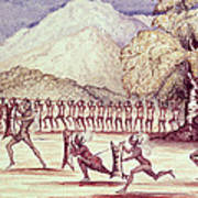 War Dance, Illustration From The Albert Nyanza Great Basin Of The Nile By Sir Samuel Baker, 1866 Wc Poster