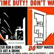 War Poster - Ww2 - Dont Waste Water 3 Poster