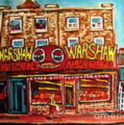 Warshaw's Bargain Fruit Store Rue St Laurent Montreal Paintings City Scene Art Carole Spandau Poster