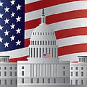 Washington Dc Capitol Us Flag Background Poster
