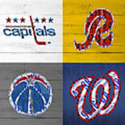 Washington Dc Sports Fan Recycled Vintage License Plate Art Capitals Redskins Wizards Nationals Poster